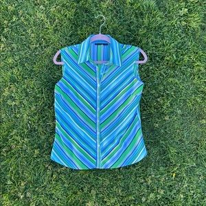 Y2K vintage blue collared striped sleeveless top